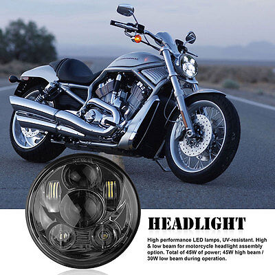 "5.75"" 5-3/4"" Projector Daymaker H4 LED Headlight For Harley Black DC 12-30V"