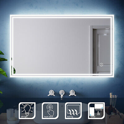 Designer Wall Hung Bathroom Illuminated LED Mirror Demister Pad |Touch Control