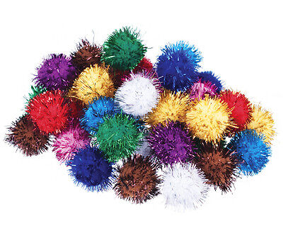 Glitter Craft Pom Poms Assorted Colours 18mm - 100pk