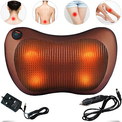 Electric Massage Pillow Lumbar Back Neck Massager Heat Cushion Kneading Shiatsu