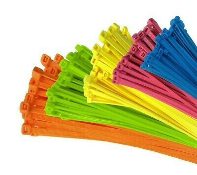 strong fluorescent colour cable tie nylon plastic straps 20, 40, 60, 100, 500