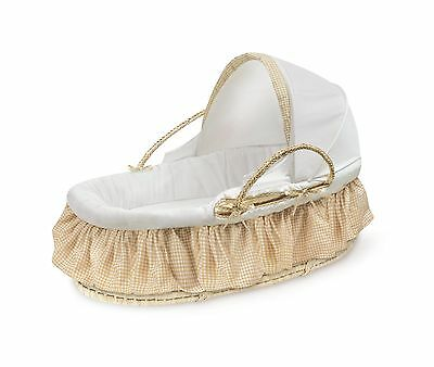 Badger Basket Company Natural Moses Basket with Fabric Canopy Beige Gingham