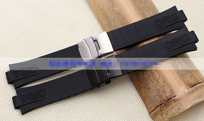 24*11mm  black rubber diver Watch Strap silicone band for ORIS Diving Set