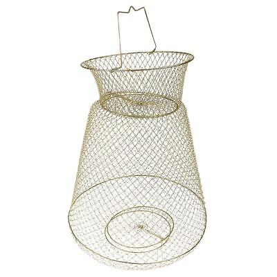 Collapsible Steel Wire Fish Basket Shrimp Crab Cage 38cm --- Gold