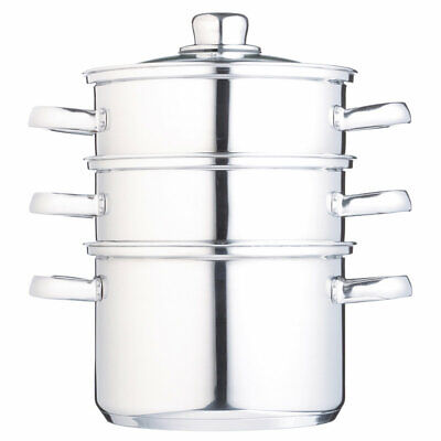 Three Tier Stainless Steel Steamer with Vented Glass Lid, 18cm