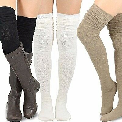 Ladies Boot Thigh-High Socks Warm Over Knee Long Winter Cable Soft Leggings Knit
