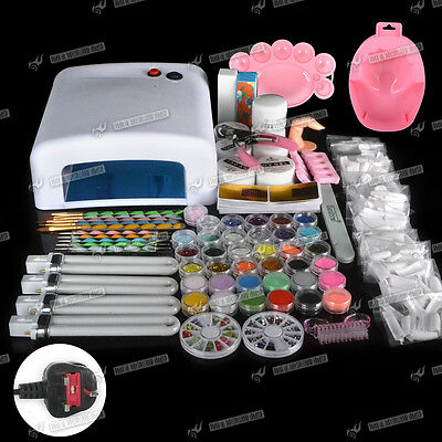 Fashion Acrylic Manicure Nail Art Kit Set Polish Curing Dryer Light 36W UV Lamp