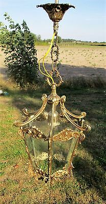 French Ceiling Lamp Fixture Etched Glass Chandelier Lantern Brass Ornate