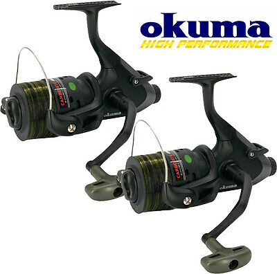 2 x OKUMA CARBONITE CF-140 FREE RUNNER REELS/SPARE SPOOLS+LINE FOR CARP FISHING