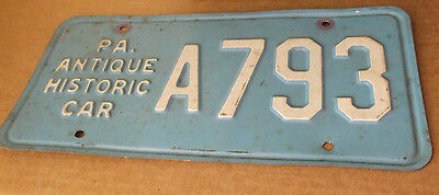 PA Antique Historic Car License Plate # A793