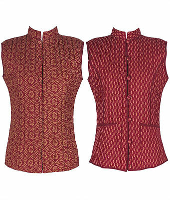 Cotton Lane Hand Block Reversible Printed Waistcoat W75. Sizes UK 8 to 38