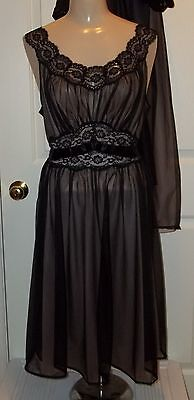 Vtg Vanity Fair Lace Sheer Peignoir Nightgown Negligee Robe Gown Lingerie 1950s