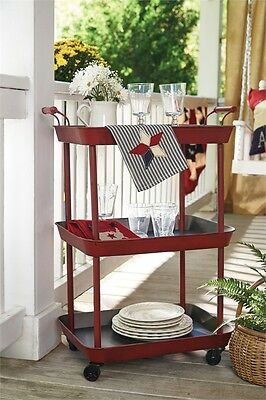 Park Designs Red Metal Utility Cart with Roller Wheels  **FREE SHIPPING**   NEW