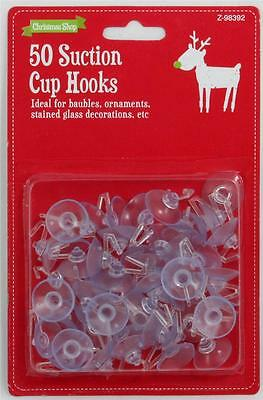 50 Piece Christmas Suction Cup Hooks Small Sucker Pad Hanging Decorations Xmas