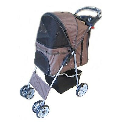 Pet Travel Stroller Pushchair Pram Brown For Dogs Puppy Cat With Swivel Wheels