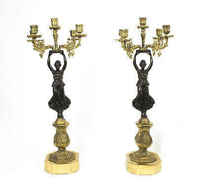Antique Pair Large Empire Ormolu Bronze Candelabra C1860