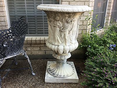Vintage Pair Of Concrete Ornate Urns.architech