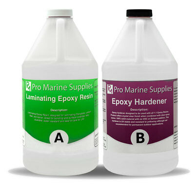 Marine Grade Epoxy Resin - 1 Gallon Kit * Uv Resistant * Clear * Non-Toxic