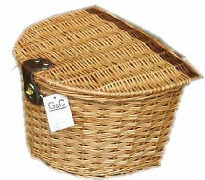 Wicker Natural Bicycle  Basket With Lid Fastner Handle Bar Mounts