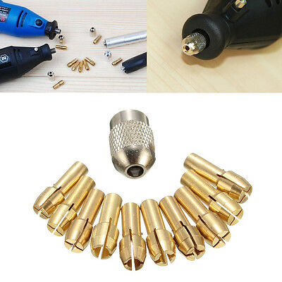 10Pcs Brass Drill Chuck Collet Bits For Rotary Tool 0.5-3.2mm 4.3mm Shank