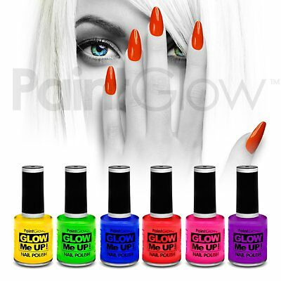 PaintGlow UV Reactive Neon Glow Nail Polish (6 Pack) Festival Halloween makeup