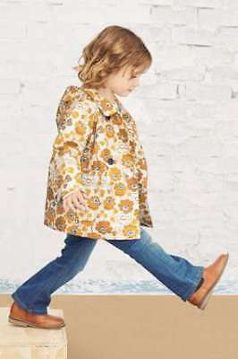 Next Ochre Floral Mac coat jacket shower resistant BNWT 3-4 years girls
