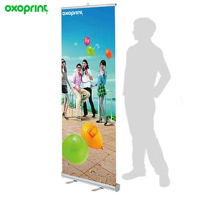 "Retractable Roll Up Banner Stand 33"" x 79"" + FREE PRINTING + FREE SHIPPING"