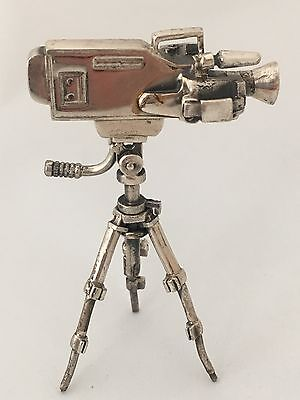 Sterling Silver Miniature Video Camera On Tripod 925