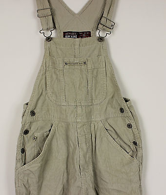 Vtg Ladies Beige Corduroy Dungarees Teens Festival Womens Grunge Moms Hipster Xs
