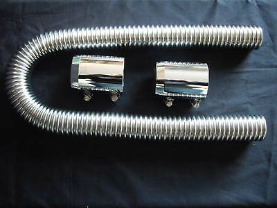 Radiator Hose Kit Stainless  Polished 36 Inch Universal Fit