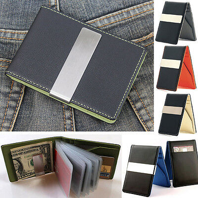 Slim Leather wallet Credit Card holder Money clip thin travel bifold for Men lot