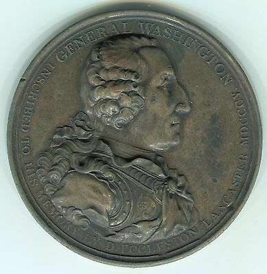 George Washington in armor/Indian reverse Eccleston medal, Baker 85--76mm Bronze