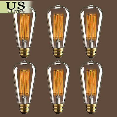 6pcs E26 60W 40W Vintage Industrial Filament Edison Tungsten Light Bulb Antique