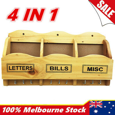 4in1 Wooden Timber Wall Keys Bills Mail Letter Holder Rack Hanger Organiser Hook