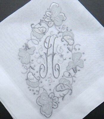 FABULOUS MADEIRA H Monogrammed Linen Hanky - Unique Hand Embroidery & Applique