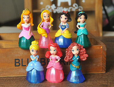 Disney Princess 7pc set PVC finger Figures toy doll Cake Topper Rapunzel Jasmine