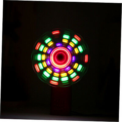 Portable Handheld Cooling Fan Colorful LED Mini Light Battery Power W/Strap OP