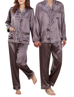 Men Women Silk Satin Pajamas Set Long Sleeve Night Sleepwear Loungwear Plus Size