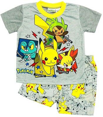 New Size 3-10 Kids Pyjamas Summer Boys Pokemon Go Pikachu Sleepwear Pjs Tshirt