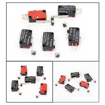 5Pcs V-156-1C25 Micro Limit Switch Long Hinge Roller Momentary SPDT Snap Action