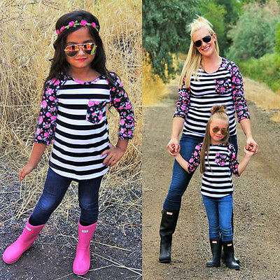 Autumn Family Clothes Mother Daughter Match T-Shirt Womens Kids Girls Top Blouse