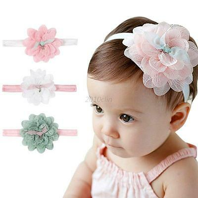 Newborn Baby Girls Flower Headband Elastic Kids Princess Hair Bow Lace Band UK