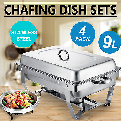 Chafing Dish (Set of 4) 9 Quart Stainless Steel Full Size Tray Buffet Dining New