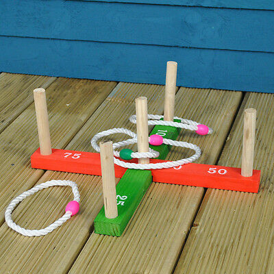Quoits Garden Game - Wooden Pegs & Rope Hoopla Outdoor Game