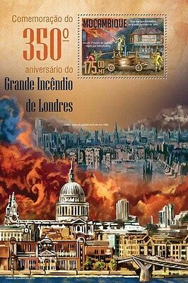 Mozambique 2016 MNH Great Fire of London 4v M/S Fire Engines Trucks Stamps