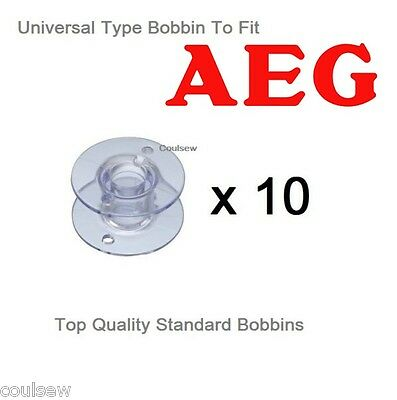 Universal Aeg Plastic Bobbins X 10 In Packet Suitable For Sewing Machine