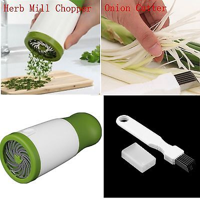 Herb Mill Chopper Cutter Mince Stainless Steel Blades Safely Easily Vegetable QW