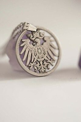 Germany Cut Coin Necklace. 5 Pfennig, in Silver Tone, Germany Coin, German Coin.