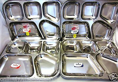 Stainless Steel Set of 4 Indian Thali Curry Food Tray Plate Dish 5 Compartment
