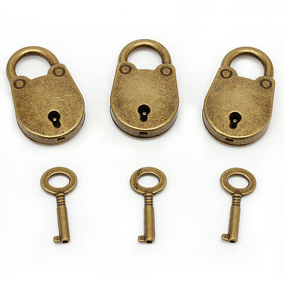 1Set Vintage Antique Style Mini Archaize Padlocks Key Lock With key (Lot Of 3)